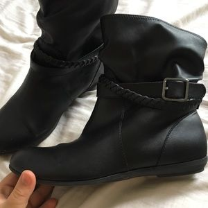Black Ankle Boots with Braid